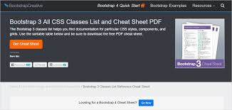 bootstrap tutorial pdf w3schools bootstrap cheat sheets a master collection of reference guides
