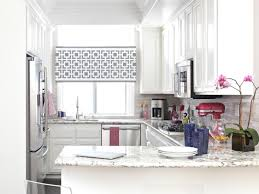 Ideas For Kitchen Windows Alluring Furniture With Glossy Marble Element Countertop Beside