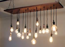 reclaimed walnut barn wood chandelier with varying edison bulbs
