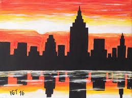 ines galiano new york city sunset 2016 acrylic painting