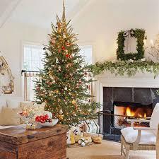christmas living room decor yellow curtain wood frame fireplace