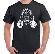 sugar skull middle finger mens day of the dead t shirt motorbike