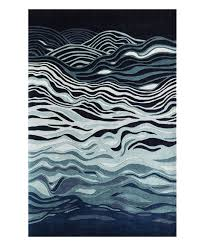 Rugs Home Decorators Collection Navy Abstract Wave Wool Rug Wool Rug Living Spaces And Modern