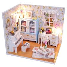 wholesale diy 3d wooden handcraft miniature doll house kit study