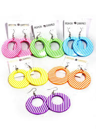 plastic earrings striped hoop costume earrings candy apple costumes