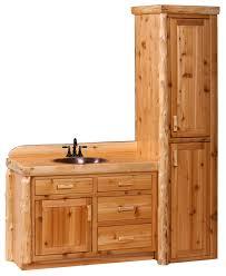 Log Vanity Cedar Log Vanity And Linen Cabinet