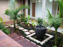 beautiful design front garden with gazebo and small pool water