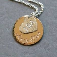 kids names necklace personalized gold and silver family initial and name necklace