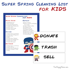 spring cleaning checklist printable for kids