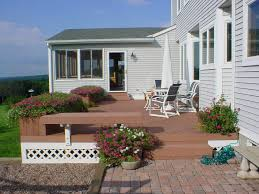 composite deck with benches and planters archadeck outdoor living