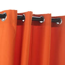 amazing polyester outside orange curtains with grommets hanging on