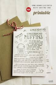 free printable hand drawn illustrated christmas recipe greeting