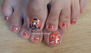 two toe art design in one video toes art design funny pumpkin and