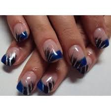 manicure with blue tips blue french manicure tips with black and