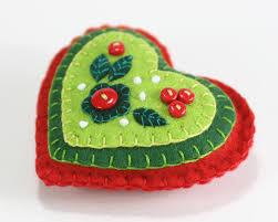 felt christmas ornament red u0026 green heart christmas ornament