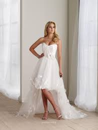 wedding dresses high front low back strapless a line front back tulle flower bridal gown