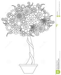 blooming tree in a pot anti stress coloring page stock vector