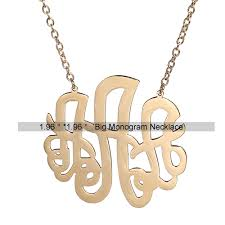 2 Inch Monogram Necklace Aoloshow Women Stainless Steel Monogram Necklace Gold Color 3