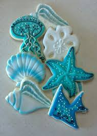 decorated cookies sea shell jelly fish nautical custom decorated cookies