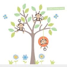 cheeky monkey swing tree wall stickers by parkins interiors