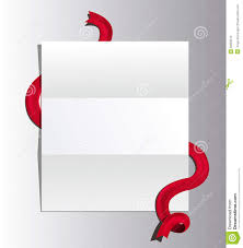 open letter with red ribbon untied paper template isolated on