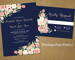 navy blue wedding invitations coral and navy wedding invitations etsy