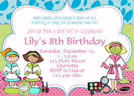 birthday party invitations printable spa birthday party invitations spa at home