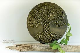 yggdrasil the tree cold cast relief sculpture with