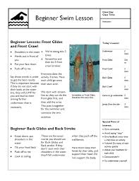swim lesson plan u2013 beginner lesson template swimming lessons ideas