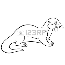 coloring pages mother otter swims with her little cute baby