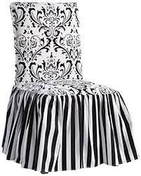 damask chair classic slipcovers damask stripe ruffled skirt