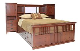 san mateo oak mid wall king bed with pedestal mor furniture for less