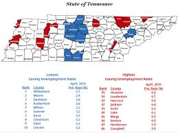 Tennessee City Map by April 2016 County Unemployment Rates Tn Gov