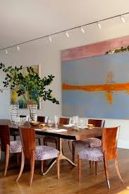 new york wood slab dining room contemporary with white walls