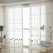 Window Sheer Curtains White Botanical Fresh Sheer Curtains For Windows