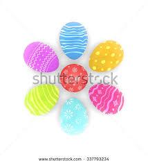 illustration easter set painted ornamental eggs stock illustration