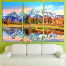 direct selling home decor direct selling 3 panels canvas art snow mountains reflection home