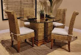Dining Room Wicker Chairs Dining Room Wicker Chairs With White Cushions Home Interior