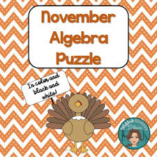 thanksgiving math algebra puzzle for the middle and high school
