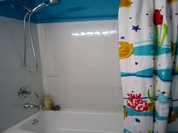 home design kids bathroom ideas features cartoon wall paper