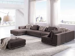 Large Brown Sectional Sofa Modern White Living Room With Large Windows Set Beautiful