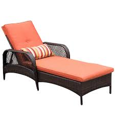 reclining brown wicker chaise lounge chair outdoor patio yard