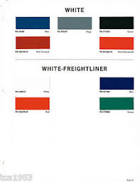 1965 white freightliner truck color chip paint sample brochure