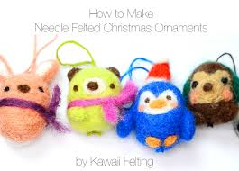 kawaii felting needle felting cute animal christmas ornaments