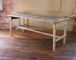 vintage rustic farm distressed folding dining work table painted