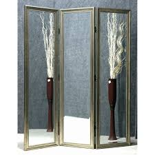 elegant 3 panel folding room divider screen with iron hinges