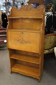 Small Drop Front Desk Antique Tiger Oak Desk Drop Front Book Shelf Original