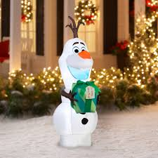 gemmy airblown christmas inflatables disney olaf with gift 5 5