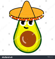 cartoon sombrero illustration cartoon funny avocado icon smile stock vector