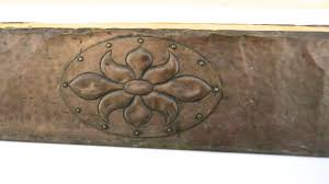 arts and crafts very large copper hearth fireplace fender from
